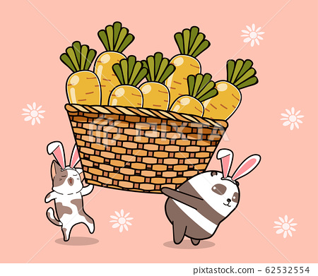 Little bunnies are carrying big carrots 62532554