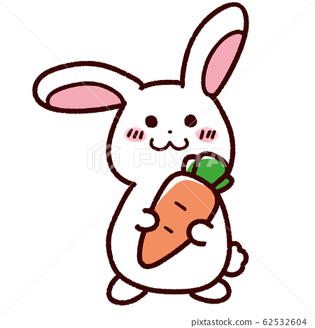 Cute rabbit with big carrot 62532604