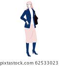 세련된 여성의 일러스트 _ 전신 (론구뿌쯔를 입고있는 젊은 여성) 62533023