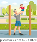Boy with fathers exercising outdoor and fathers help catch up on the horizontal bar. Concept Fatherhood child-rearing. Vector cartoon illustration 62533070