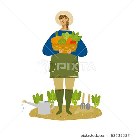 웃는 얼굴로 야채를 수확하는 여자 (배경 없음) 62533387