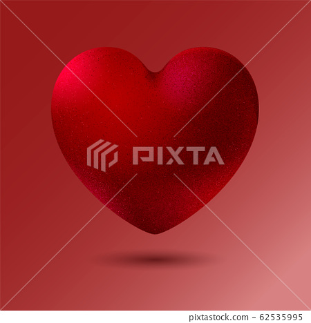 Decorative red velvet heart on isolated background. Realistic style. Vector illustration. 62535995