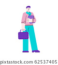 University student man holding file folder, sketch vector illustration isolated. 62537405