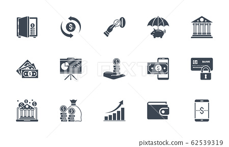 Banking icons set. Related vector glyph icons. 62539319