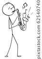 Vector Cartoon Illustration of Man or Musician Playing Music on Saxophone 62540740
