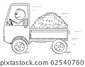 Vector Cartoon Illustration of Smiling Man or Driver Driving Small Truck Loaded by Sand or Soil. Logistic and Transportation Concept. 62540760