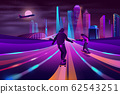 City extreme sports neon cartoon concept 62543251