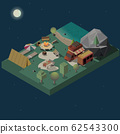 Stay at night on campground isometric 62543300
