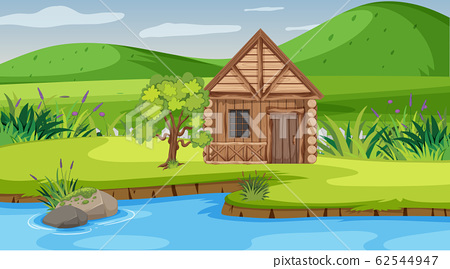Scene with wooden cottage in the field 62544947