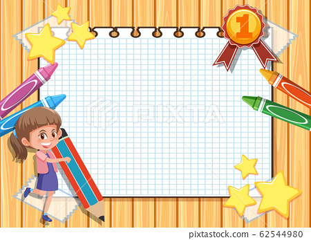 Banner template with happy girl and crayons in 62544980