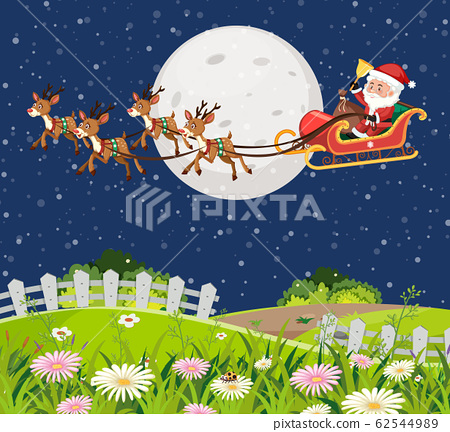 Scene with Santa on the sleigh flying over the 62544989