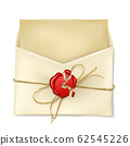 Opened paper envelope with letter realistic 62545226