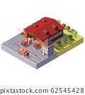 3d isometric fire station. Municipal service 62545428