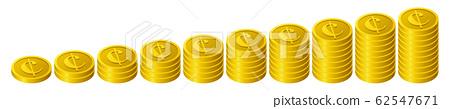 한장 씩 증가 센트 동전 62547671