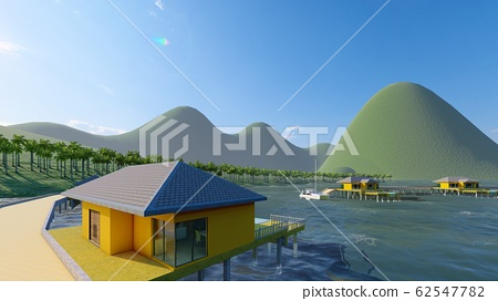 Aerial drone shot of small island, French Polynesia 3d rendering 62547782