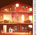 House cross section interiors cartoon 62550023