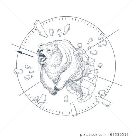 hand drawn graphic emblem with wild bear 62550512