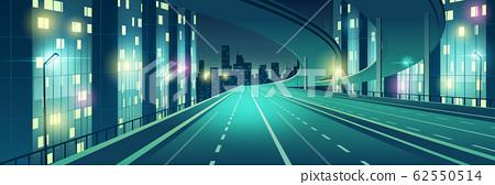 Night city illuminated highway cartoon 62550514