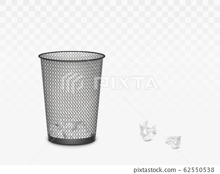 Trash can with crumpled paper inside and around. 62550538
