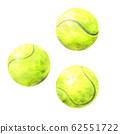 Hand drawn watercolor tennis balls 62551722