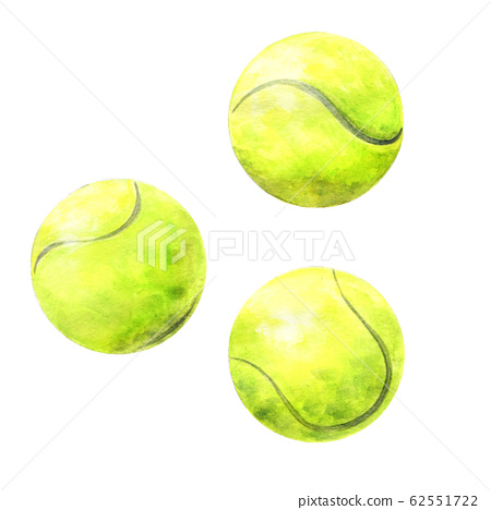 Hand drawn watercolor tennis balls 62551722