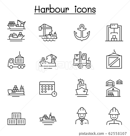Port icon set in thin line style 62558107
