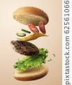 Delicious flying hamburger 62561066