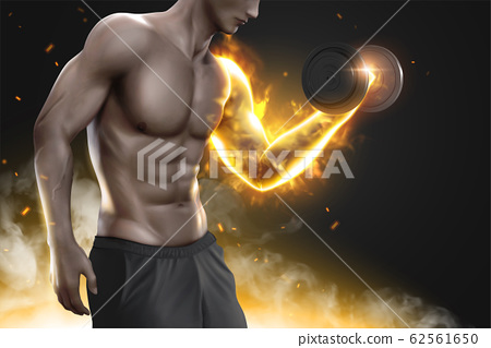 Hunky man doing weight lifting 62561650