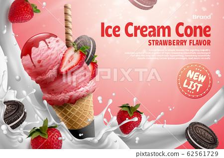 Strawberry ice cream cone ads 62561729