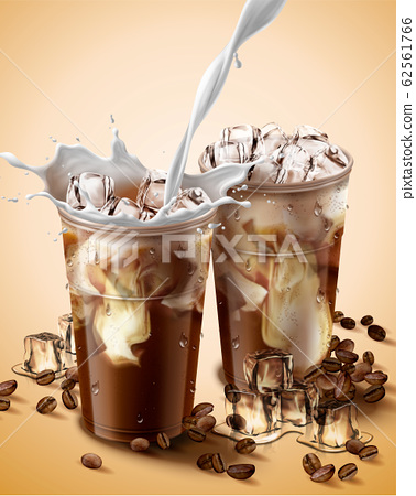 Milk pouring into iced coffee 62561766