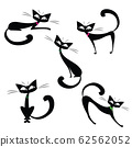 Set cute black cats,isolated on white background 62562052