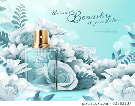 Perfume ads with paper flowers 62562137
