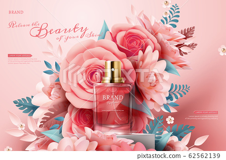 Perfume ads with paper flowers 62562139