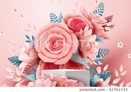 Paper rose flower decorations 62562143