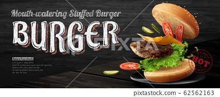 Delicious hamburger banner ads 62562163