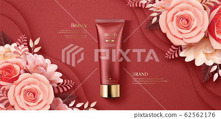 Elegant paper art cosmetic ads 62562176