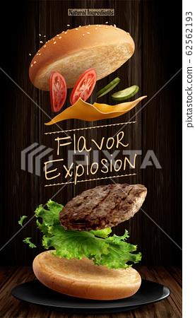 Delicious hamburger ads 62562193
