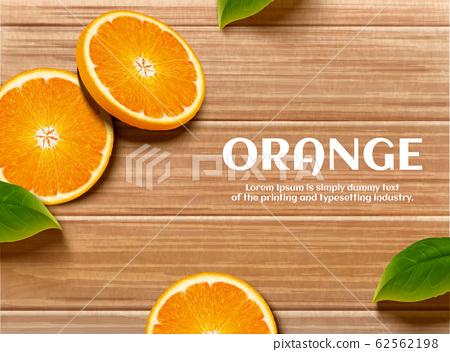Sliced citrus and leaf background 62562198