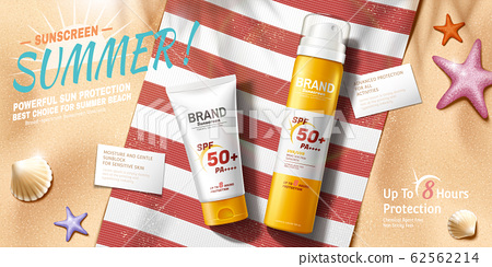 Sunscreen ads at relax summer beach 62562214