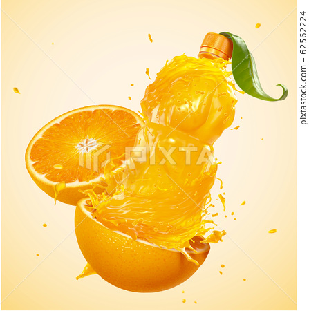 Orange juice in bottle shape 62562224