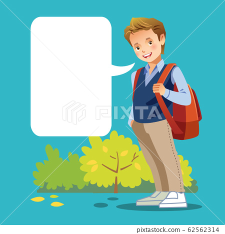 Cute boy go to school. Greeting card with a place under the text. Vector cartoon illustration. 62562314