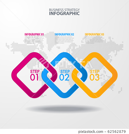 Vector infographic 3 steps strategy design 62562879