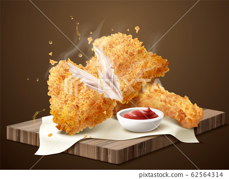 crispy fired chicken and dip 62564314