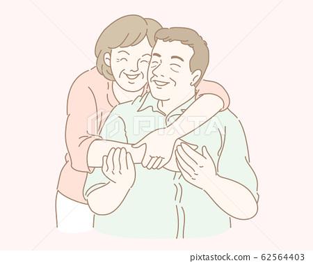 Middle-aged couple illustration 62564403