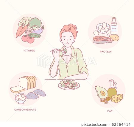 Woman eating healthy salad 62564414