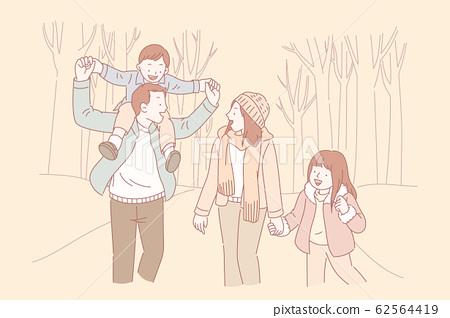 Family having a walk 62564419