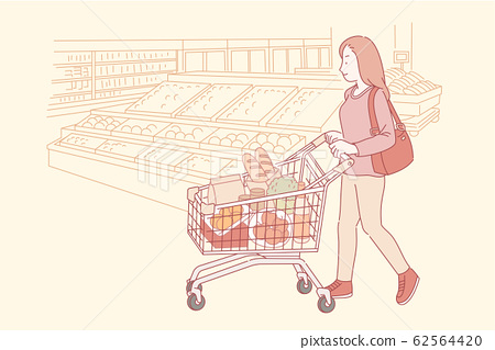 Woman shopping in the supermarket 62564420
