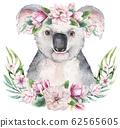 A poster with a koala. Watercolor cartoon koala tropical animal illustration. Jungle exotic summer print. 62565605