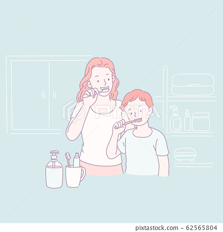 Family brushing teeth together 62565804
