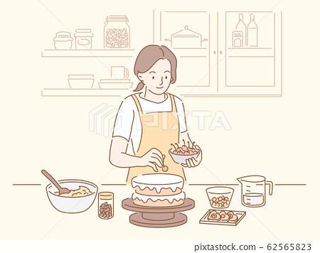 Fine Woman Making A Birthday Cake Stock Illustration 62565823 Pixta Personalised Birthday Cards Sponlily Jamesorg